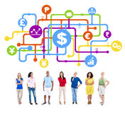 Analytiker Group Concept för mångfaldfolkfinans arkivbild