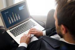 Analytiker som arbetar med bärbara datorn Begrepp för affärsanalys royaltyfria bilder