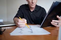 Analytiker som kontrollerar finans arkivbilder