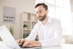 Analytiker vid arbetsplatsen arkivbild