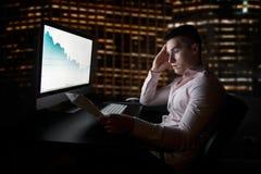 Analytique courant et courtier regardant les diagrammes courants allant vers le bas après rapport de ventes Image libre de droits
