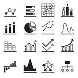 Analytisk grafsymbolsuppsättning Arkivfoto