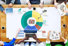 Analytisk marknadsföring för analys som delar grafdiagrambegrepp Royaltyfria Bilder