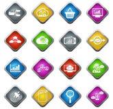 Analytiska och sociala nätverkssymboler för data Arkivfoto