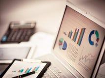 Analyz investeringdiagram med bärbara datorn Fotografering för Bildbyråer