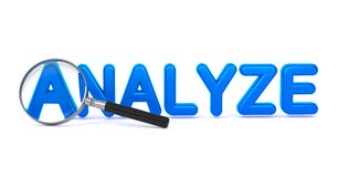 Analyze - Blue 3D Word Through a Magnifying Glass. Stock Images