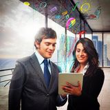 Analyze economy on tablet Stock Photography