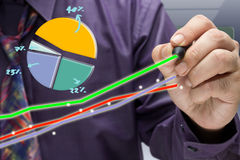 Analyze graph. Businessman writing a success graph with market share diagram Royalty Free Stock Photography