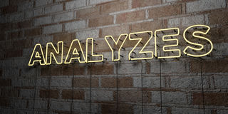 ANALYZES - Glowing Neon Sign on stonework wall - 3D rendered royalty free stock illustration Royalty Free Stock Image