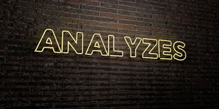 ANALYZES -Realistic Neon Sign on Brick Wall background - 3D rendered royalty free stock image Stock Images