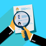 Analyzing applicants resume, flat design vector illustration Royalty Free Stock Image