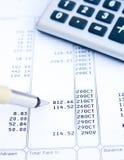 Analyzing a bank statement. stock photos