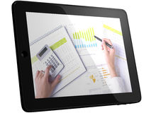 Analyzing Business Data On Tablet Computer Royalty Free Stock Images