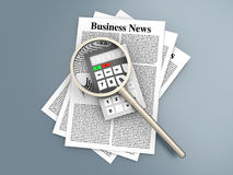 Analyzing business news. Analyzing for the latest business news. 3d rendered Illustration Stock Image