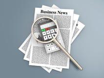 Analyzing business news Stock Image