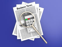 Analyzing business news. Analyzing for the latest business news. 3d rendered Illustration Royalty Free Stock Image