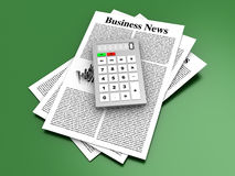 Analyzing business news. Analyzing for the latest business news. 3d rendered Illustration Stock Images