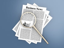 Analyzing business news. Analyzing for the latest business news. 3d rendered Illustration Royalty Free Stock Images