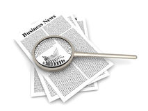 Analyzing business news. Analyzing for the latest business news. 3d rendered Illustration Stock Photography
