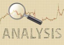 Analyzing the chart. Analysis chart magnifying glass.Inscription analysis Stock Image