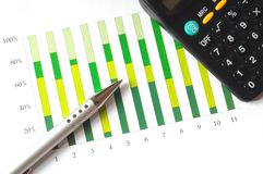 Analyzing a chart. Closeup of a business chart with pen and calculator Stock Images