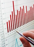 Analyzing chart on monitor. Business concept. Analyzing financial diagram royalty free stock photography