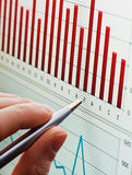 Analyzing chart on monitor. Business concept. Analyzing financial diagram stock photography