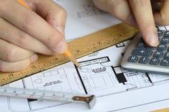 Analyzing the construction plan Stock Photos