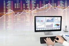 Analyzing Data on Computer Stock Image