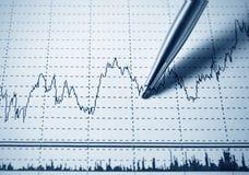 Analyzing diagram. Analyzing financial diagram with pen royalty free stock photos
