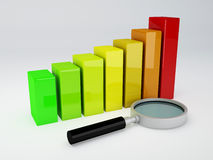 Analyzing the Economical business graph. Business graph and magnifying glass 3d illustration.  white Stock Image