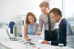 Analyzing financial data Royalty Free Stock Photo