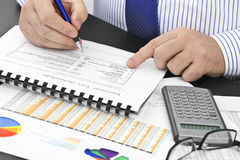 Analyzing  financial documents  in the office Royalty Free Stock Images