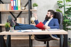 Analyzing financial report. Financial report. Owner of small business. Man bearded businessman sit office read business. Report. Accounting and banking. Guy stock photography