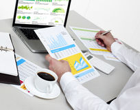 Analyzing financial reports Royalty Free Stock Photography