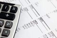Analyzing financial statement Stock Images