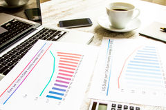 Analyzing graphics with evolution exchange rate euro dollar Royalty Free Stock Photo