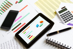 Analyzing graphics with the Tablet Stock Photo