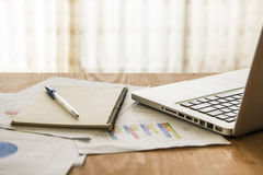 Analyzing investment charts with laptop. Accounting Royalty Free Stock Photo