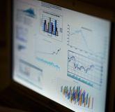 Analyzing investment charts with laptop. Royalty Free Stock Images