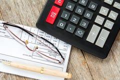 Analyzing invoice Stock Photos