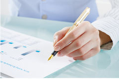 Analyzing market and sales data Royalty Free Stock Image
