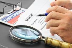 Analyzing resume stock photography