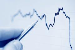 Analyzing of stock index. Royalty Free Stock Photos