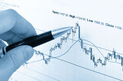 Analyzing the stock market. Stock Photo