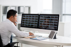 Analyzing stock market. Financial analyst looking at the monitors and talking on phone royalty free stock images