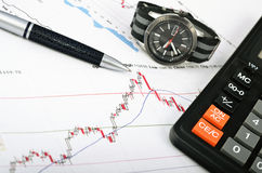 Analyzing the stock market. Time is money Stock Image