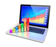 Analyzing a success. Business improvement and finance success analyzing concept. Laptop with growth diagram on a screen. 3d image Stock Photography