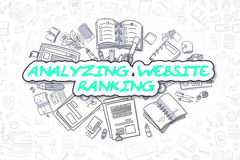 Analyzing Website Ranking - Business Concept. Business Illustration of Analyzing Website Ranking. Doodle Green Inscription Hand Drawn Doodle Design Elements Stock Photos