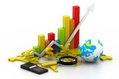 Analyzing World business graph Royalty Free Stock Photography
